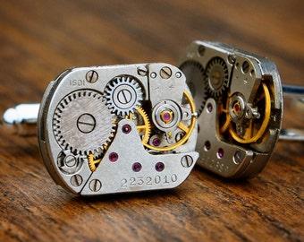 Watch Movement Cufflinks Steampunk Vintage Wedding Groom Gift Mens Retro Present Gift for Man