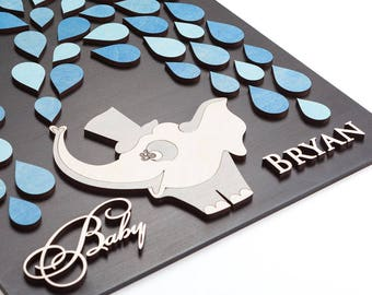 Baby Shower Guest Book Elephant Baby Shower Guestbook Alternative Baby Guest Book Sign in Signature Girl Boy Shower Guestbook Custom Colors