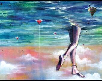 "Surreal Art - Ocean Art Print - Mixed Media Art with Digital Collage - ""Cloud Walking"" by Black Ink Art"