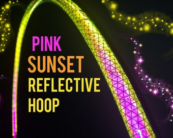 """Pink Sunset  Reflective HDPE or Polypro 5/8"""" 3/4"""" Dance & Exercise Hula Hoop - NOT an LED hoop"""