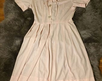 Large Adorable Pink Striped 1950s Sailor Dress