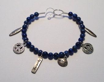 Blue Denim Lapis Inspirational Bangle Bracelet