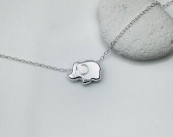 Tiny Sliding Elephant Sterling Silver Necklace