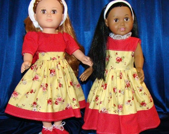 """Short Sleeve Dress with Shoes OR Sleeveless Maxi Dress with Belt & Headband; for American Girl Style 18"""" Dolls! School or Dress Up Clothes"""