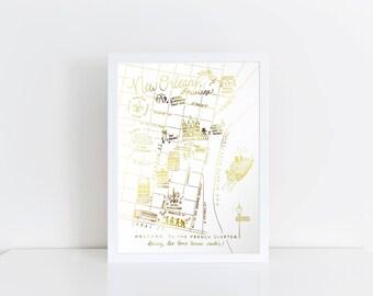 Gold Foil New Orleans, Louisiana Map Art Print
