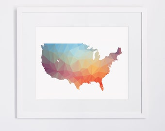 Rainbow USA map print, printable usa map, us map design, instant download, colorful usa map poster, united states printable map, wall art