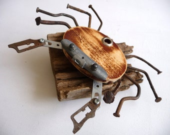 Crab driftwood and metal, gift for fathers day, crab wood, wood crab, original gift, unique, handmade