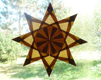 Brown Waldorf Window Star with Eight Points