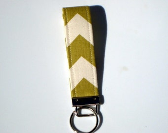 Wristlet Key Fob / Key Chain -Chevron Olive Green and Natural
