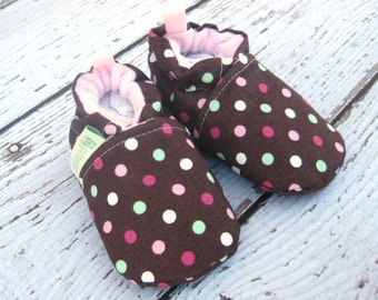 SALE Small Classic Pink Sprinkes Polka Dot  All Fabric Soft Sole Baby Shoes / Ready to Ship / Babies