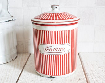 "Red and White Stripes Enamel ""Flour"" Kitchen Canister 