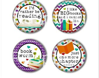 Book magnets or book pins, reading magnets, reading pins, bookworm, I'd rather be reading, refrigerator magnets, fridge magnets, office