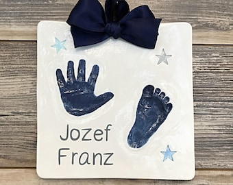 Personalized Baby Handprint - Babys First Footprint Art - Personalized First Footprint Keepsake - Unique Baby Footprint - Toddler Handprint