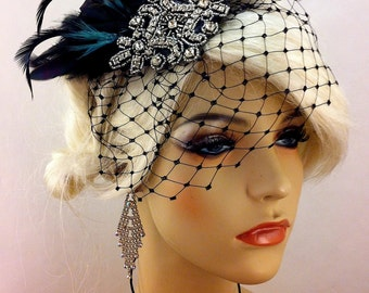 Gatsby Headpiece, Great Gatsby Hair Clip, Downton Abbey, 1920s Flapper Headpiece, Feather Fascinator, Speakeasy