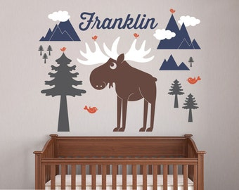 Happy Moose Wall Decal Baby Animal Nursery Wilderness Mountain Theme Boy Girl Name Personalized Kids Woodland Wall Mural Room Decor