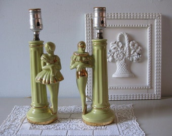 Vintage 1940s ballerina lamps His and hers nightstand lamps