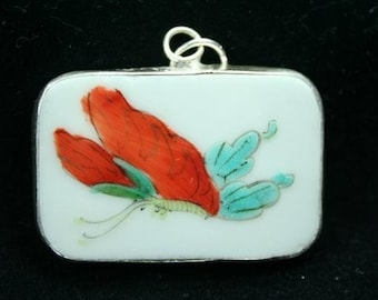 Hand Painted Pottery Shard Ming Qing Dynasty Shard Necklace Pendant Butterfly