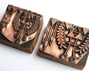 UNUSUAL PAIR 1903-1953 Antique GERMAN Copper Letterpress Cut printing block Triangle Shapes Laurel