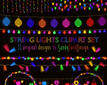 colorful glowing string lights clipart 29 pieces instant download - Tabla Periodica Breaking Bad