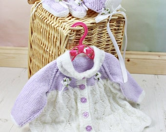 KNITTING PATTERN For Diamond Baby Matinee Jacket, Bonnet & Booties PDF 110 Digital Download