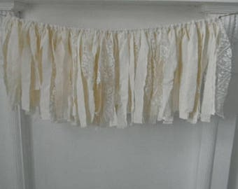 cream garland rag garland cottage chic french country photo prop cottage style nursery decor frayed tattered window valance 28inch wide