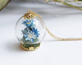 Blue Flower Terrarium Jewelry, Bouquet necklace, Flower Necklace, Dried flower necklace, Flower Jewelry, Romantic Jewelry, Wedding