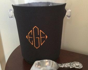 Monogrammed Ice Bucket with Sleeve - Personalized Ice Bucket - Custom Bucket