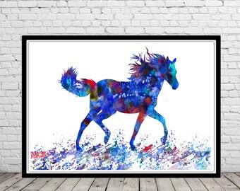 Horse, watercolor art print, horse art, horse print, home decor, Horse art, animal art, wild horse, horse running