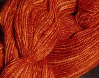 Hand Dyed Alpaca Yarn in Mystic Maple - Finger Wt - 250 yds