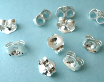 20pcs solid 925 bright sterling silver buttfly earring back backing medium 4.7mm e30s