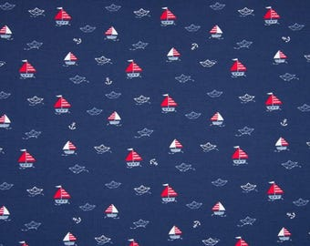 Cotton jersey dark blue m sailing ships, 50 cm