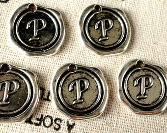 Alphabet letter P wax seal charm silver vintage style jewellery supplies