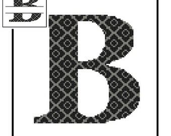 Monogram B Cross Stitch Pattern B Initial B Letter cross stitch Wedding Gift House Warming split letter cross Wedding Record Anniversary