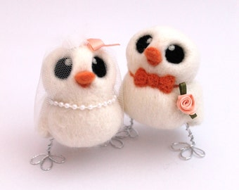 Love Birds Wedding Cake Topper Peach and White Bride and Groom Needle Felted Birds
