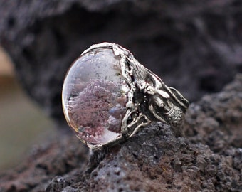 """Unique Sterling Silver Chlorite Quartz Ring """"Mermaid"""" MADE TO ORDER, crystal jewelry, mineral"""