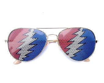 Dead 13 Point Bolt Graphic Aviator Festival Sunglasses