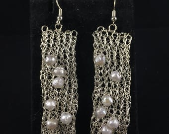 Silver hand crocheted from wire with pearls