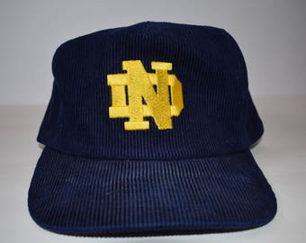 Vintage Notre Dame Corduroy Snapback Adjustable Hat, Navy, Gold, One Size Fits All