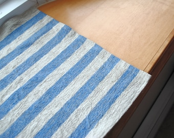 Rustic Linen Table Runner Table Linens Narrow Striped Blue Beige Prewashed Heavy Linen