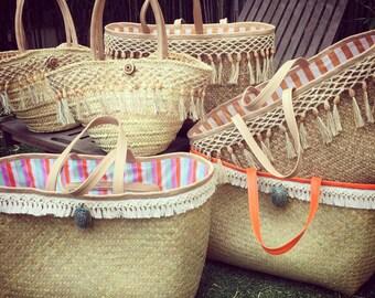 Straw Beach Bag - Leather Beach Bag - Weekend Straw Bag - Raffia Beach Bag - Straw Tote Bag - Leather Straw Bag