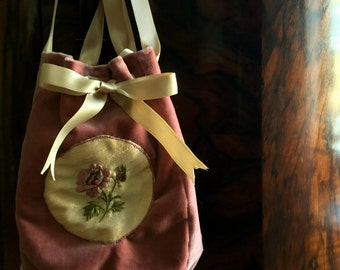 Rose bag in 1700s style hand embroidered