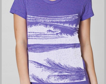 Women's Block Print  T Shirt Waves American Apparel S, M, L, XL 8 COLORS Beach Wear