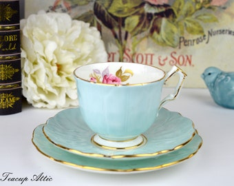 Aynsley Pale Blue Teacup And Saucer Trio With Pink Rose, English Bone China Tea Cup, ca. 1934-1939