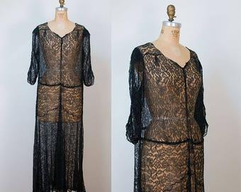 1930s Black Lace Dress / 30s Dress