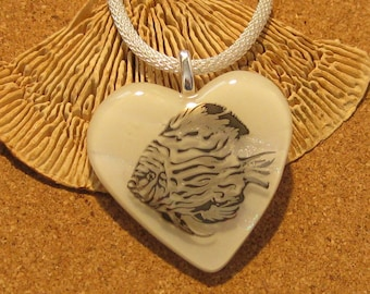 Dichroic Heart Pendant - Fused Glass Heart Pendant - Dichroic Jewelry - Fused Glass Jewelry - Dichroic Angel Fish Pendant