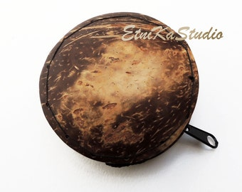 Coconut Shell round Zippered Coin Purse, Eco-Friendly
