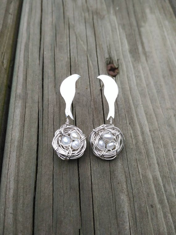 Sterling Silver Earrings Birds with Nest