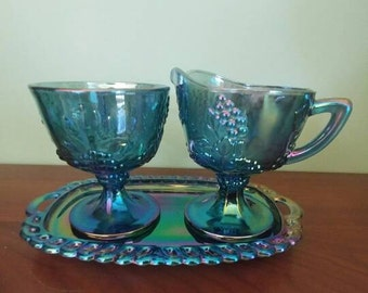 Vintage Blue Carnival Glass-Cream/sugar and tray