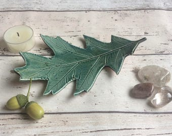 Ceramic leaf ring dish in Green, or a ceramic candle holder, perfect for Spring home decor, Inspired by nature altar dish or soap dish.