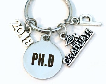 PH. D Graduation Gift, 2017 2018 PH.D Keychain for Doctorate Student Grad University Key Chain Keyring Graduate Doctor of Philosophy letter